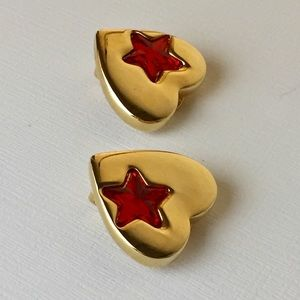 Vintage Statement Gold Tone Heart Clip On Earrings